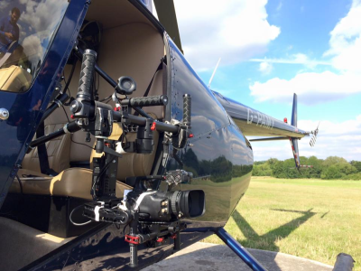R44 Helicopter rigged for aerial photography