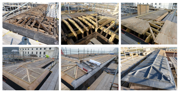 Lead covered timber roof at Dover Harbour Cruise Terminal 1
